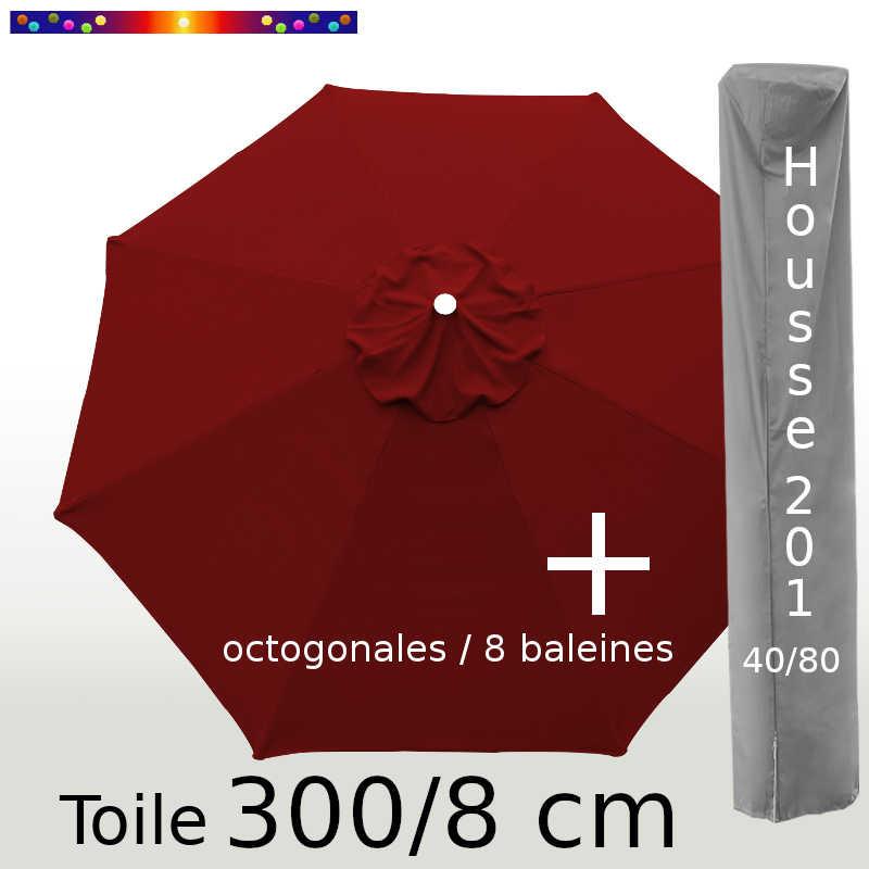 Pack : Toile 300/8 Bordeaux + Housse 201x40/80