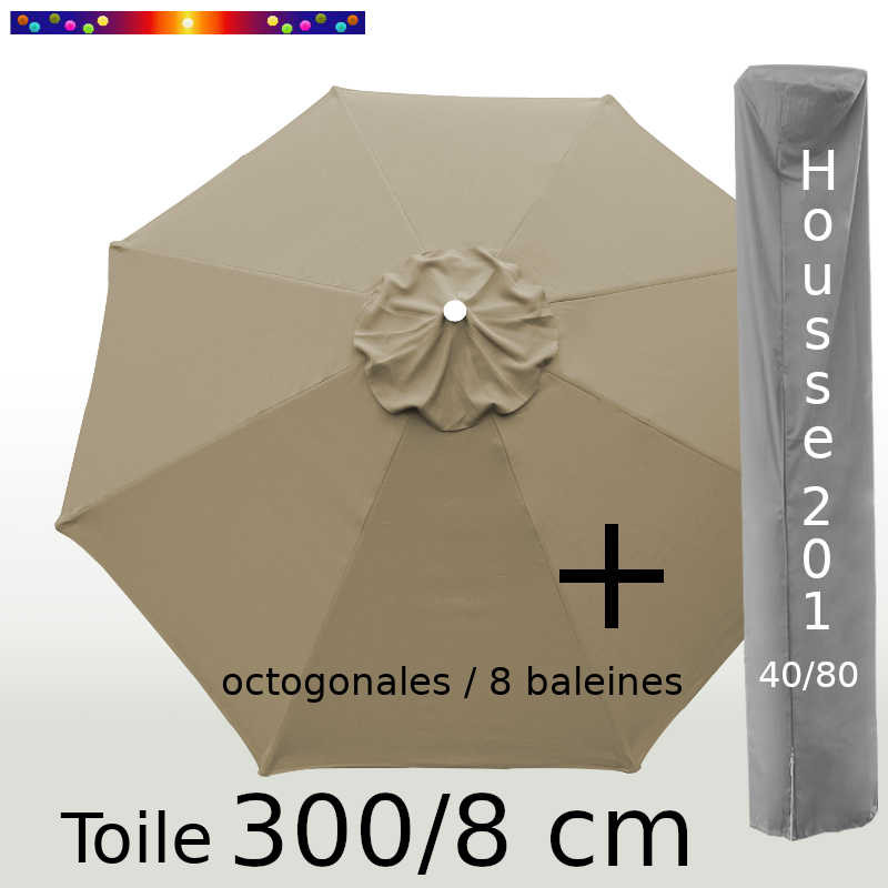 Pack : Toile 300/8 Taupe + Housse 201x40/80