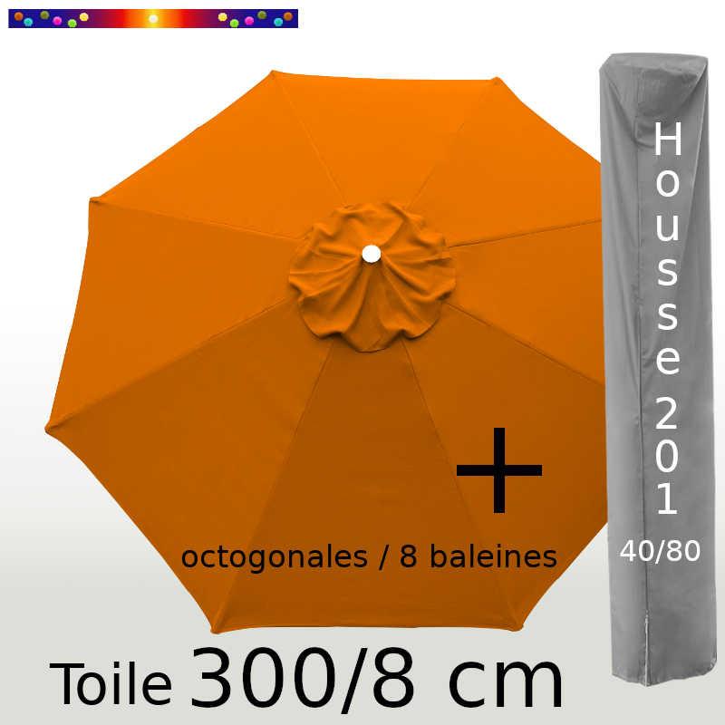 Pack : Toile 300/8 Orange Capucine + Housse 201x40/80