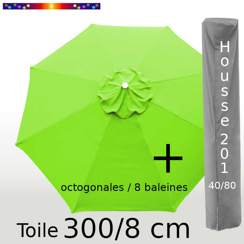 Pack : Toile 300/8 Vert Lime + Housse 201x40/80