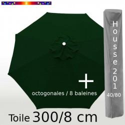 Pack : Toile 300/8 Vert Pinède + Housse 201x40/80