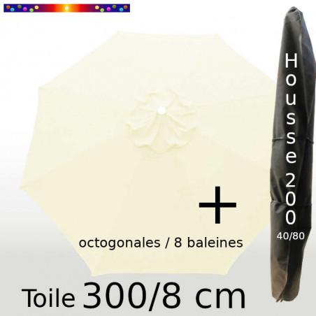 Pack : Toile 300/8 Ecru Crème + Housse 200x40/80