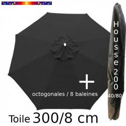 Pack : Toile 300/8 Gris Souris + Housse 200x40/80