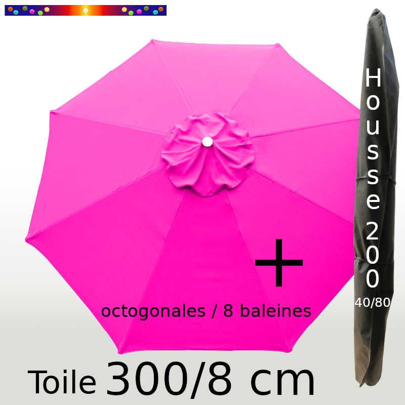 Pack : Toile 300/8 Rose Fushia + Housse 200x40/80