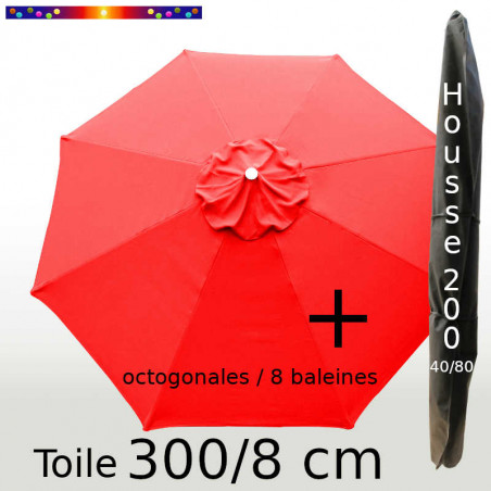 Pack : Toile 300/8 Rouge + Housse 200x40/80