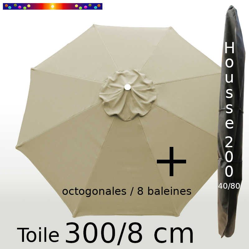 Pack : Toile 300/8 Soie Grège + Housse 200x40/80