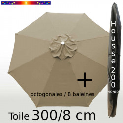 Pack : Toile 300/8 Taupe + Housse 200x40/80