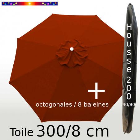 Pack : Toile 300/8 Terracotta + Housse 200x40/80