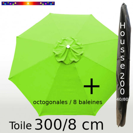 Pack : Toile 300/8 Vert Lime + Housse 200x40/80