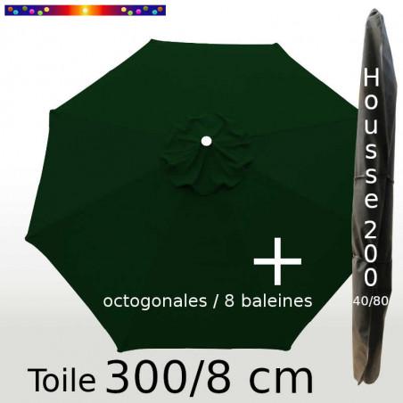 Pack : Toile 300/8 Vert Pinède + Housse 200x40/80
