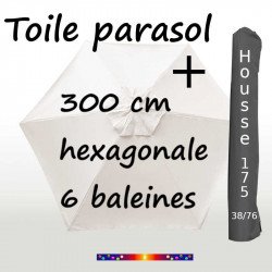 Pack : Toiles 300/6 Ecru Nature + Housse 175/38x76