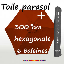 Pack : Toiles 300/6 Terracotta + Housse 175/38x76