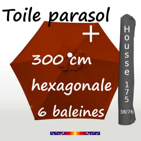 Pack : Toiles 300/6 Terracotta + Housse 175/38x76