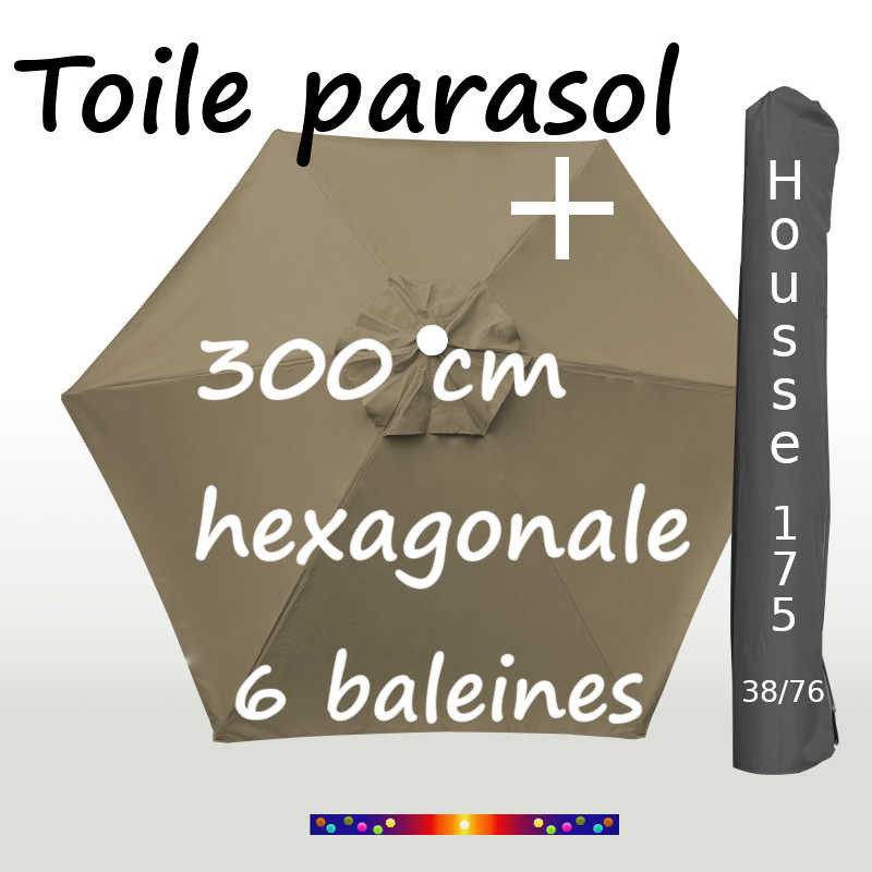 Pack : Toiles 300/6 Taupe + Housse 175/38x76