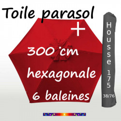 Pack : Toiles 300/6 Rouge + Housse 175/38x76