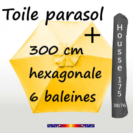 Pack : Toiles 300/6 Jaune Bouton d'Or + Housse 175/38x76