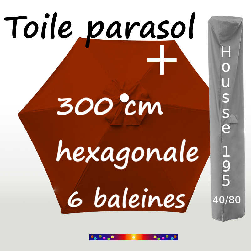 Pack : Toiles 300/6 Terracotta + Housse 195/40x80