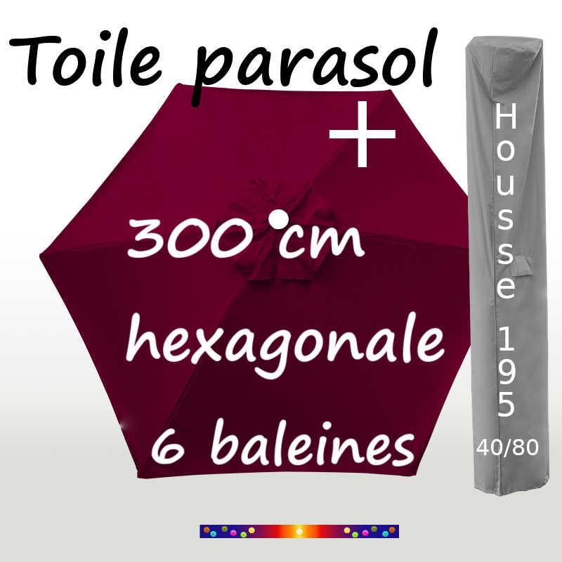 Pack : Toiles 300/6 Bordeaux + Housse 195/40x80
