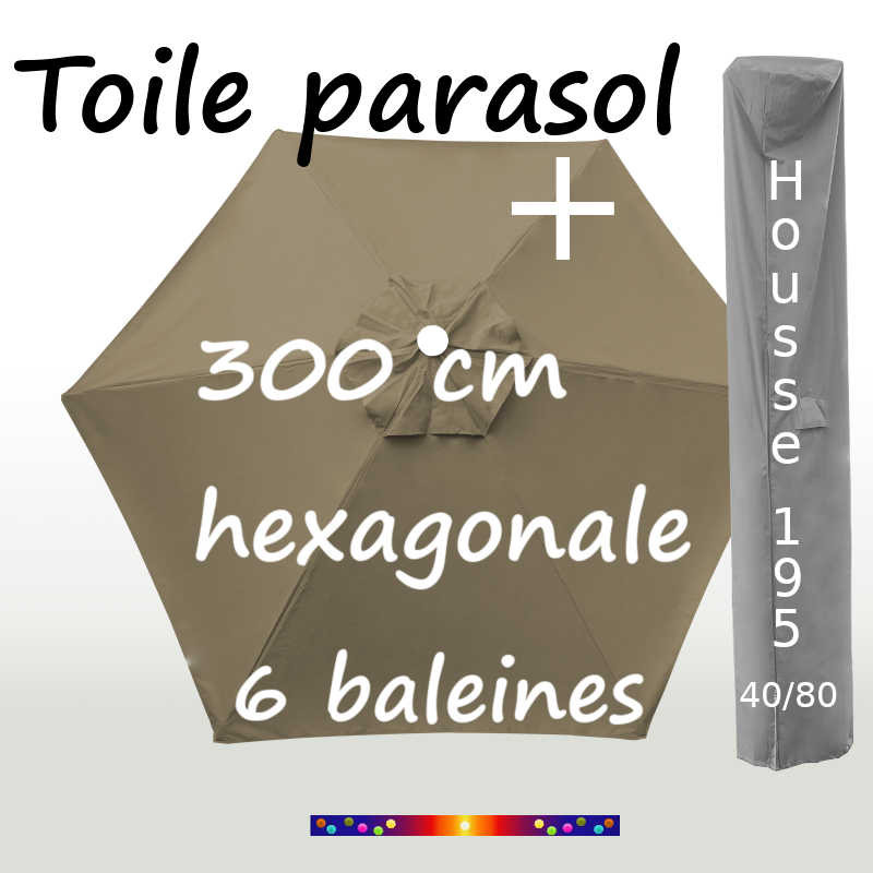 Pack : Toiles 300/6 Taupe + Housse 195/40x80