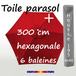Pack : Toiles 300/6 Rouge Coquelicot + Housse 195/40x80