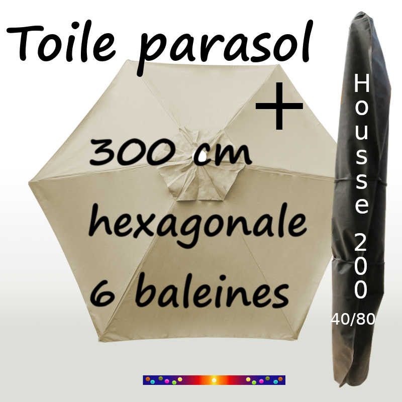 Pack : Toile 300/6 Soie Grège + Housse 200x40/80
