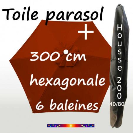 Pack : Toile 300/6 Terracotta + Housse 200x40/80