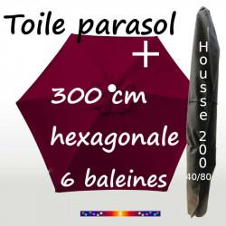 Pack : Toile 300/6 Bordeaux + Housse 200x40/80