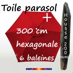 Pack : Toile 300/6 Rouge Coquelicot + Housse 200x40/80
