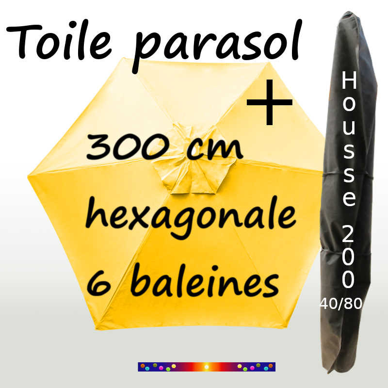 Pack : Toile 300/6 Jaune Bouton d'Or + Housse 200x40/80