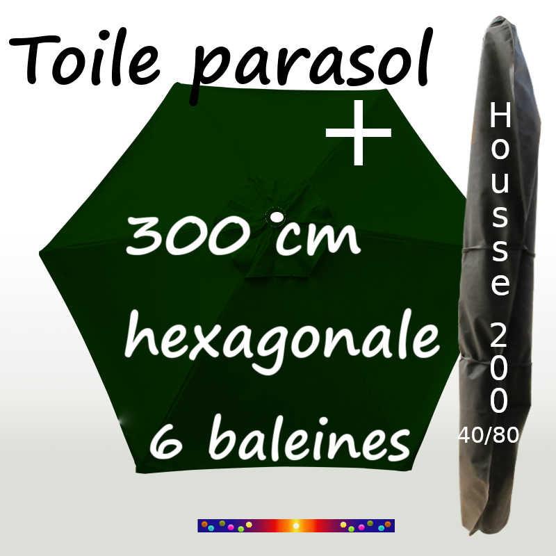 Pack : Toile 300/6 Vert Pinède + Housse 200x40/80