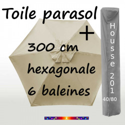 Pack : Toile 300/6 Soie Grège + Housse 201x40/80