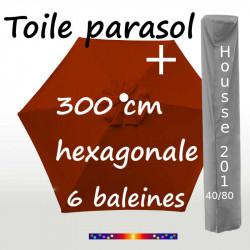 Pack : Toile 300/6 Terracotta + Housse 201x40/80