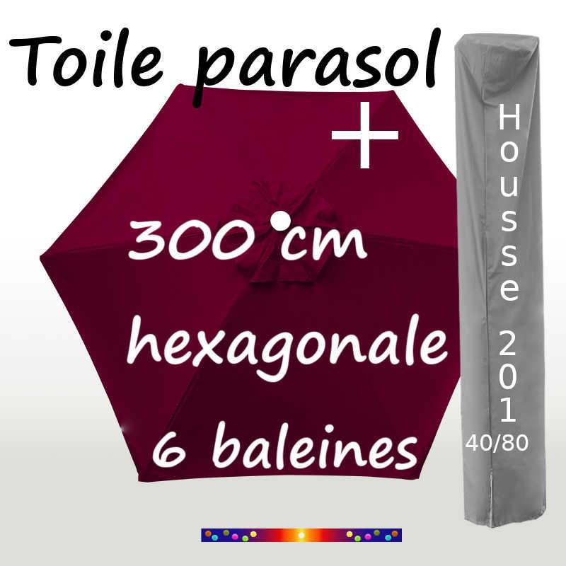 Pack : Toile 300/6 Bordeaux + Housse 201x40/80