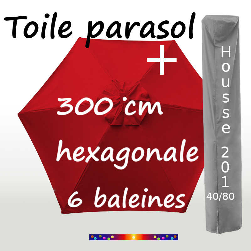 Pack : Toile 300/6 Rouge Coquelicot + Housse 201x40/80