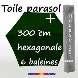 Pack : Toile 300/6 Vert Pinède + Housse 201x40/80