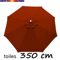 Toile de remplacement pour parasol 350 cm Rouge Terracotta vue de dessus