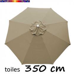 Toile de remplacement pour parasol 350 cm Gris Taupe vue de dessus