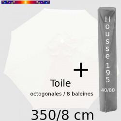 Pack : Toile 350/8 Blanc Jasmin + Housse 195x40/80