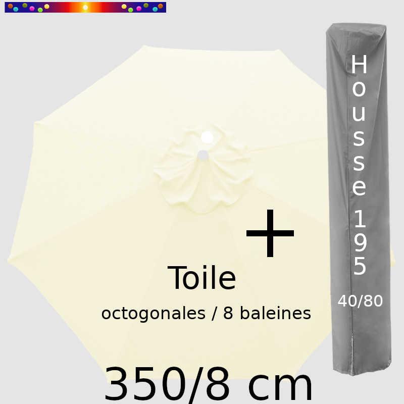 Pack : Toile 350/8 Ecru Crème + Housse 195x40/80