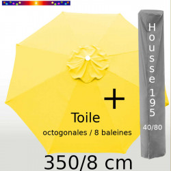 Pack : Toile 350/8 Jaune Bouton d'Or + Housse 195x40/80
