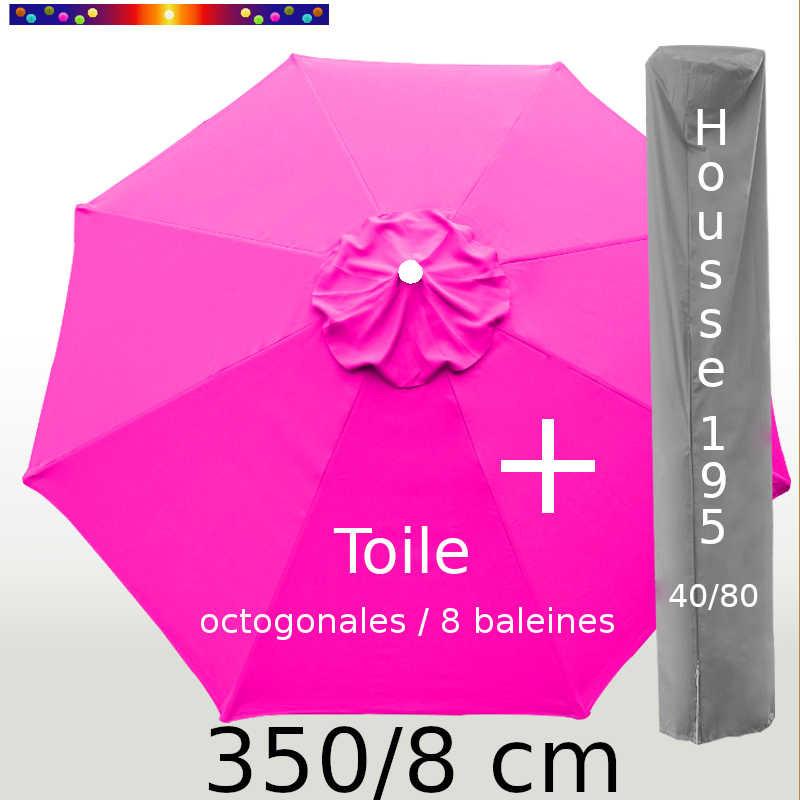 Pack : Toile 350/8 Rose Fushia + Housse 195x40/80