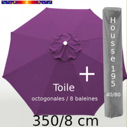 Pack : Toile 350/8 Violette + Housse 195x40/80