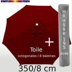 Pack : Toile 350/8 Bordeaux + Housse 195x40/80