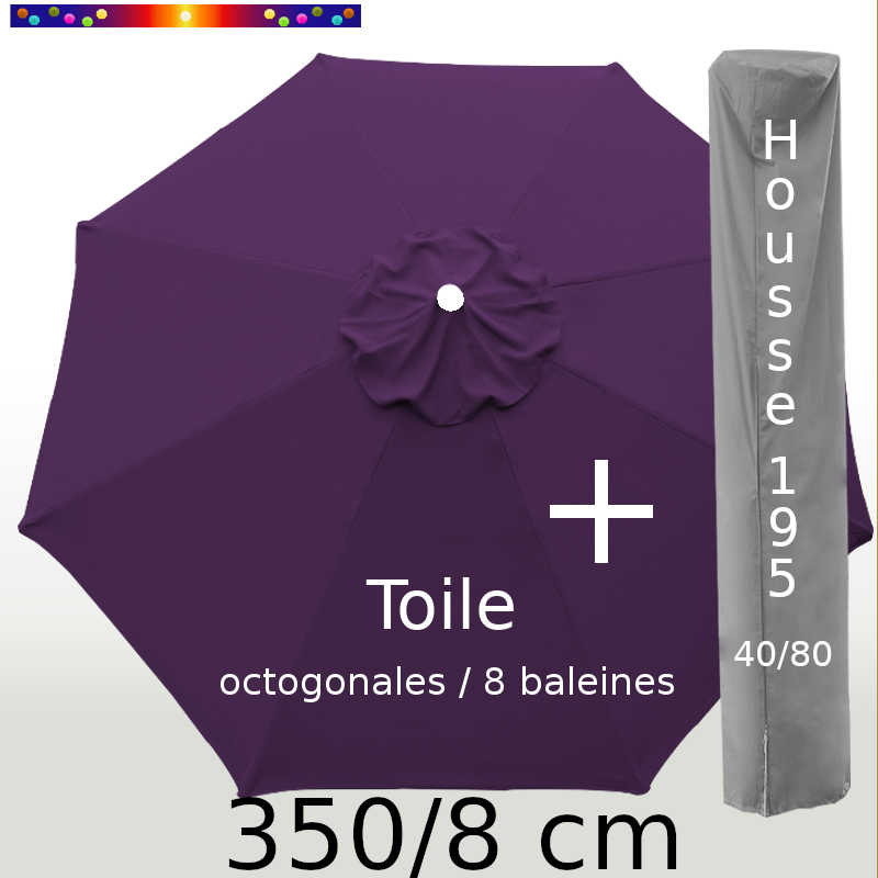 Pack : Toile 350/8 Aubergine + Housse 195x40/80