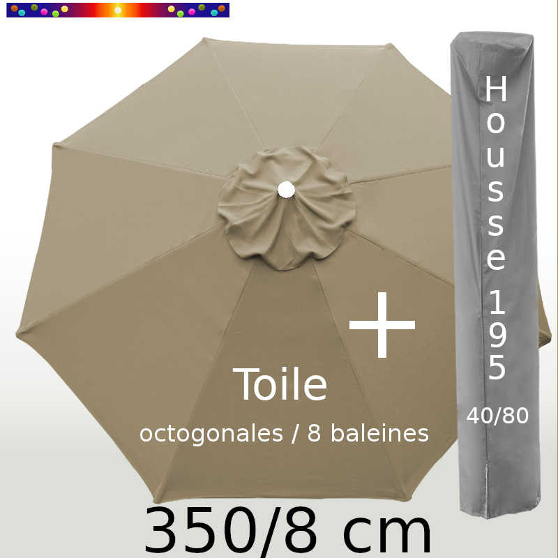 Pack : Toile 350/8 Taupe + Housse 195x40/80