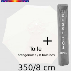Pack : Toile 350/8 Blanc + Housse 201x40/80