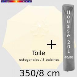 Pack : Toile 350/8 Ecru Crème + Housse 201x40/80