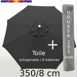 Pack : Toile 350/8 Gris + Housse 201x40/80