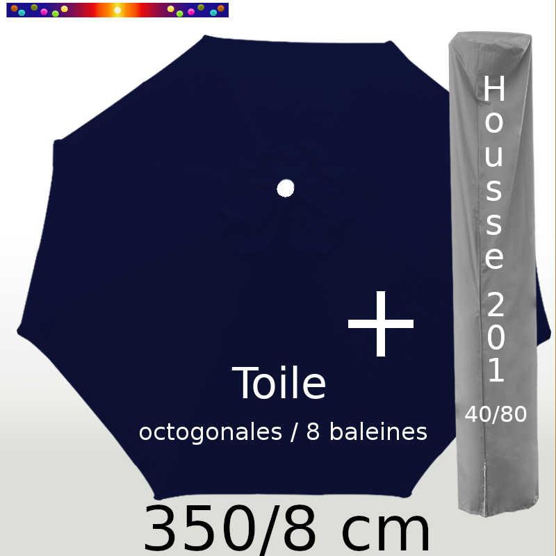 Pack : Toile 350/8 Bleu Marine + Housse 201x40/80