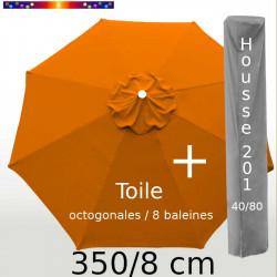 Pack : Toile 350/8 Orange Capucine + Housse 201x40/80